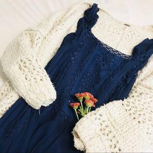 FP Blue Crochet Dress
